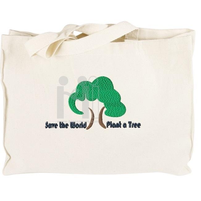 กระเป๋าผ้าดิบทรงกล่อง หูหิ้วสำเร็จรูปสีขาว