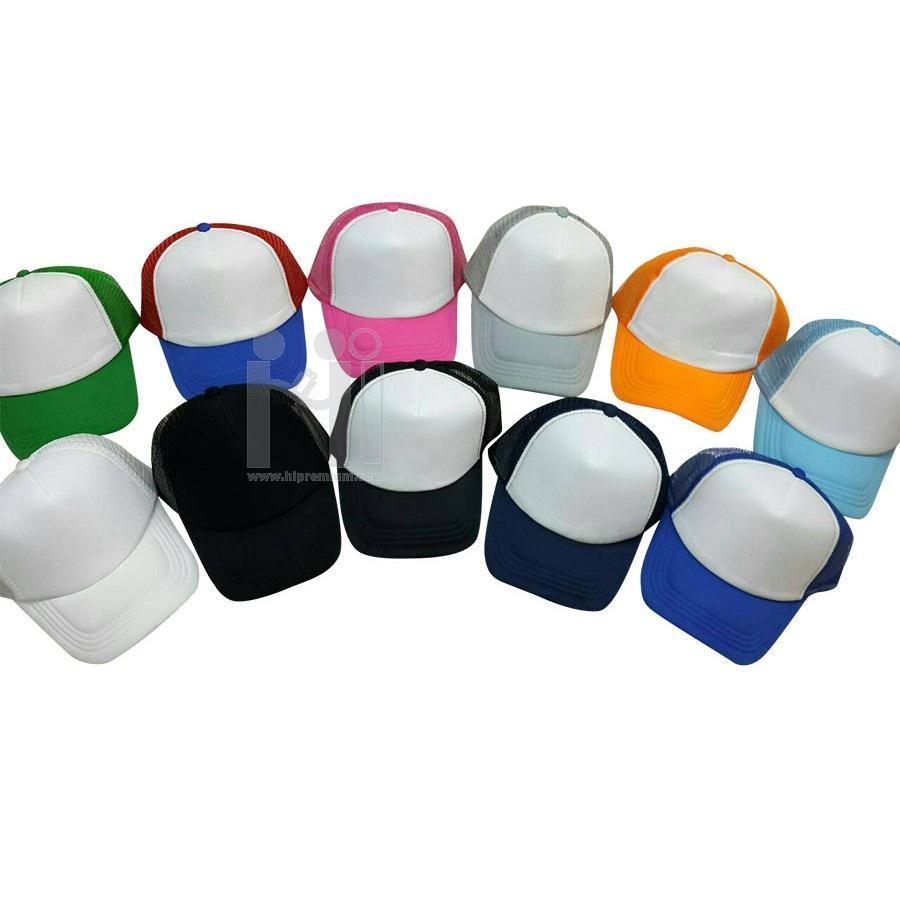 หมวกแก๊ปตาข่ายทูโทน หมวกสต๊อก หมวกงานด่วน