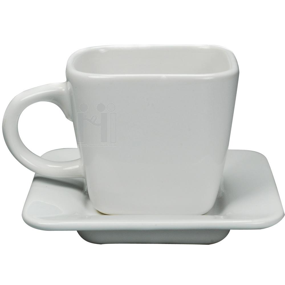 ชุดแก้วกาแฟทรงเหลี่ยม พร้อมจานรองแก้ว