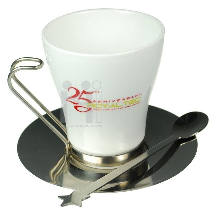 ชุดแก้วกาแฟ พร้อมจานรองและช้อน<br>สั่งขั้นต่ำ100ชุด