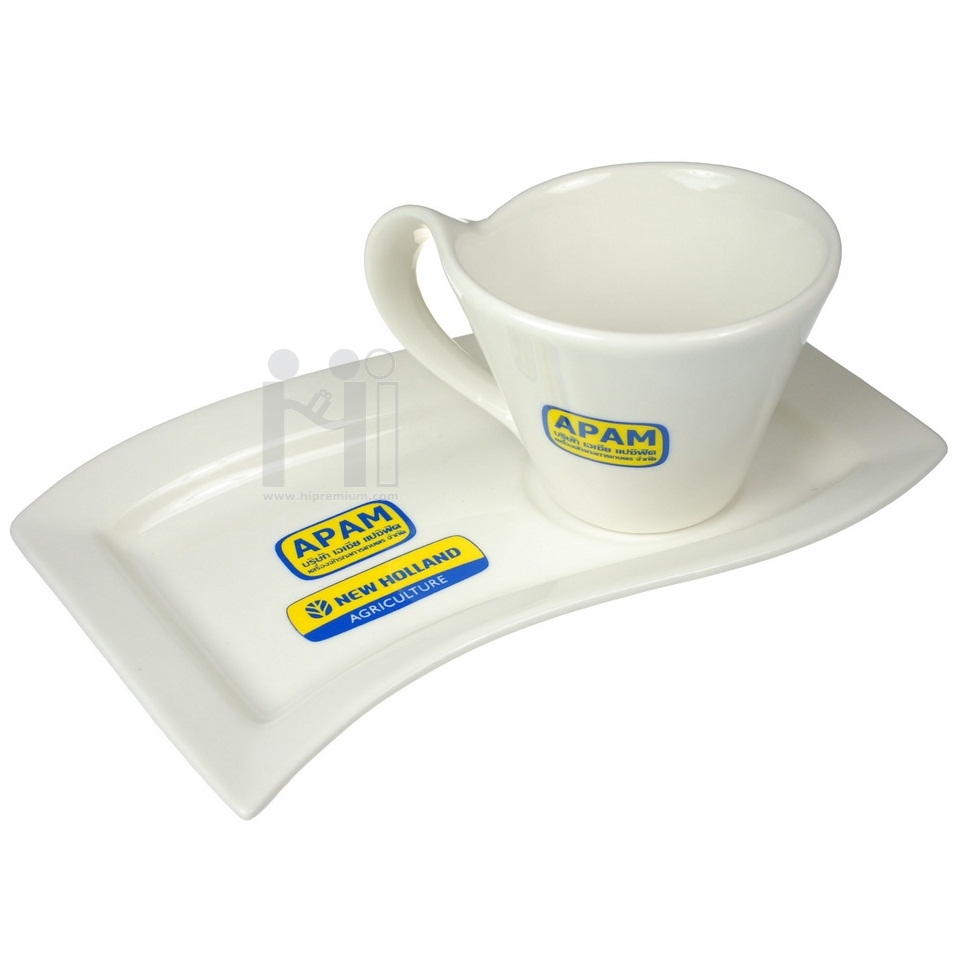 ชุดแก้วกาแฟ พร้อมจานรอง สโตนแวร์<br>สั่งขั้นต่ำ100ชุด
