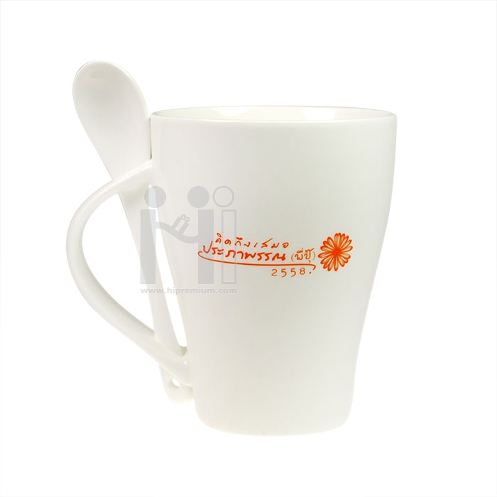 แก้วกาแฟเซรามิกมัคพร้อมช้อน New bone