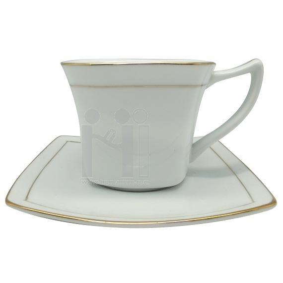 ชุดแก้วกาแฟพร้อมจานรองแก้วขอบทอง
