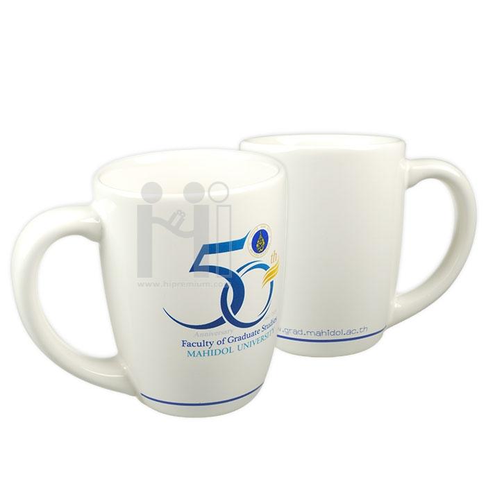 ***แก้วมัก แก้วกาแฟเซรามิกมัค แก้ว mug สีขาวสกรีนโลโก้