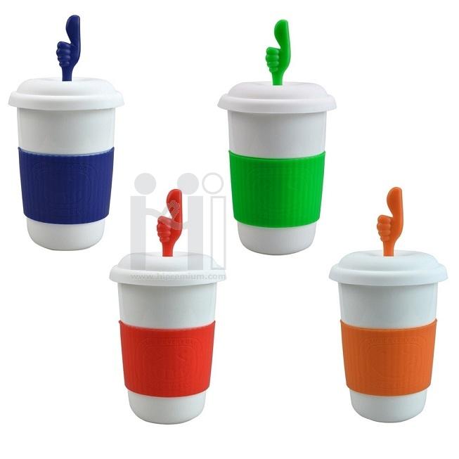 แก้วเซรามิค มียางจับกันร้อน พร้อมฝาปิด แก้วกาแฟเซรามิกมัคมีฝาปิด