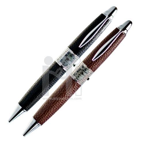 ปากกาคริสตัลแท้ พร้อมนาฬิกา ปากกาหุ้มหนัง