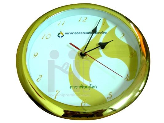 นาฬิกาแขวนกลม  10  นิ้ว ขอบชุบสีทองเงา