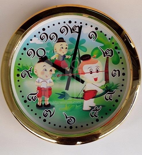นาฬิกาแขวนผนังใหญ่ 15 นิ้ว ขอบทองเงา