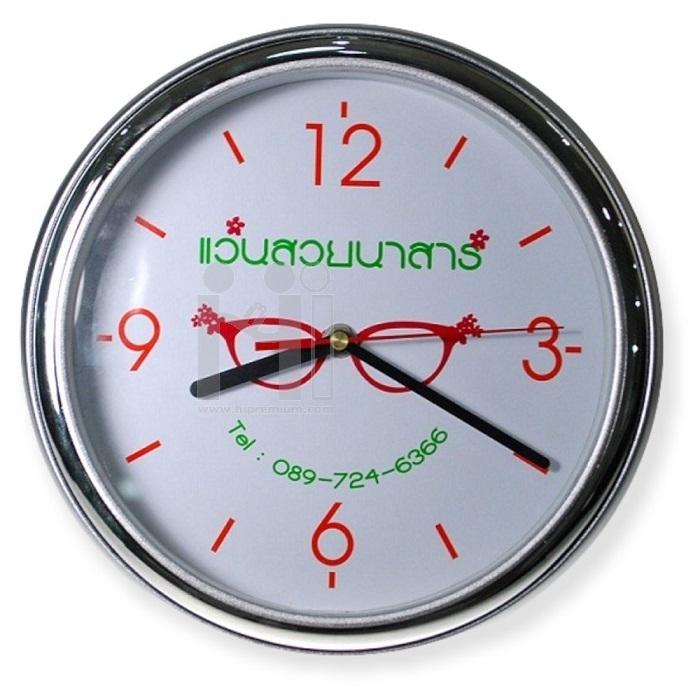 นาฬิกาแขวนกลม  10  นิ้ว ขอบทูโทนเงินเงาสลับเงินด้าน