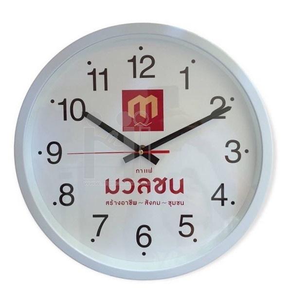 นาฬิกาแขวนผนังทรงกลม12.5นิ้ว ขอบพลาสติกพ่นสีเงิน,หรือทอง(ด้าน)