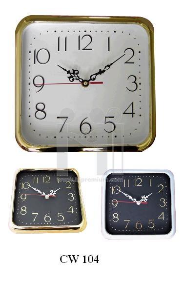 นาฬิกาแขวนสี่เหลี่ยม  10  นิ้ว  ขอบชุบสีเงินหรือสีทอง(เงา)