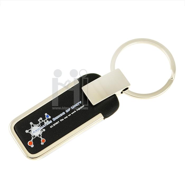 พวงกุญแจโลหะสลับหนัง PU สีดำ