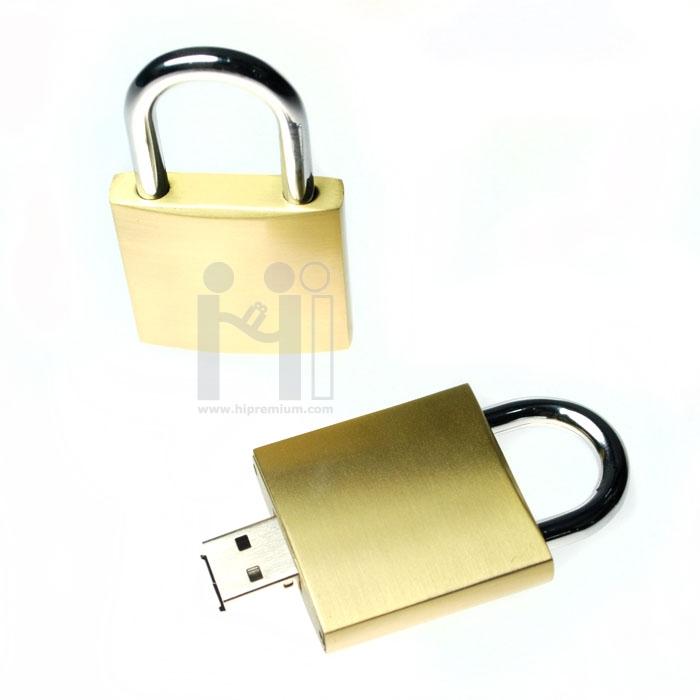 Flash Drive โลหะ แฟลชไดร์ฟแม่กุญแจสีทอง