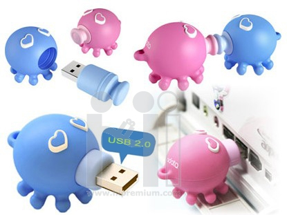 USB Flash Drive แฟลชไดร์ฟตัวการ์ตูนรูปปลาหมึก