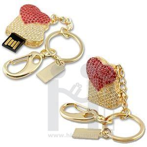 Flash Drive แฟลชไดร์ฟจิวเวอรี่รูปหัวใจคู่ ประดับคริสตัล