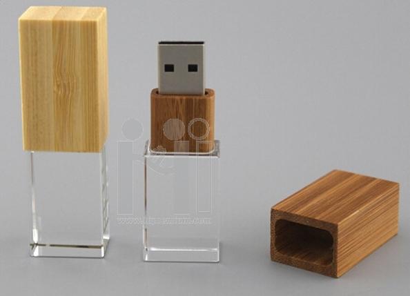 3D crystal USB flash drive  แฟลชไดร์ฟไม้สลับแก้วคริสตัลใส3มิติ แฟลชไดร์ฟเรืองแสงเลือกสีของแสงได้