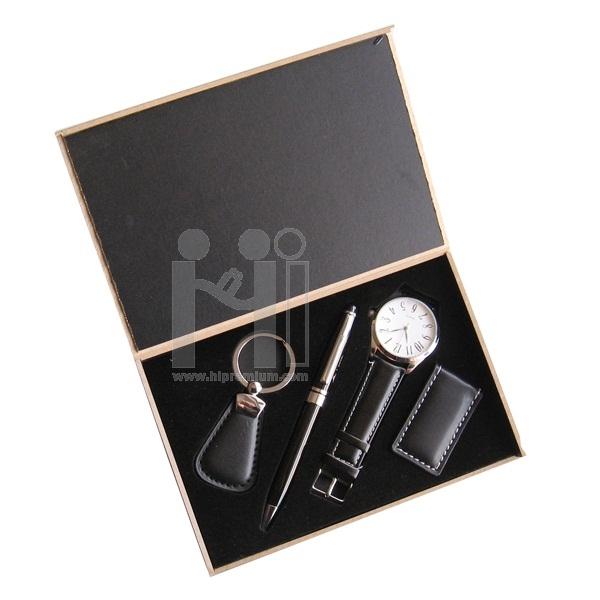 ชุดกล่องของขวัญกิ๊ฟเซ็ท Gift Set<br>นาฬิกาข้อมือ,ปากกา,พวงกุญแจ,แม็กเน็ต