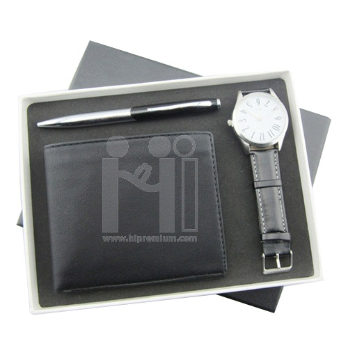 **Out Of Stock**<br>ชุดกล่องของขวัญกิ๊ฟเซ็ท Gift Set<br>กระเป๋าเงิน,ปากกา,นาฬิกาข้อมือ