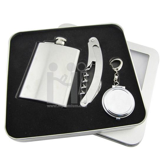 ชุดกล่องของขวัญกิ๊ฟเซ็ท Gift Set<br>ขวดใส่เครื่องดื่ม,พวงกุญแจที่เขี่ยบุหรี่,ที่เปิดขวด