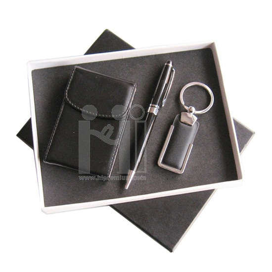 ชุดกล่องของขวัญกิ๊ฟเซ็ท Gift Set <br>กล่องนามบัตร,ปากกา,พวงกุญแจหนัง