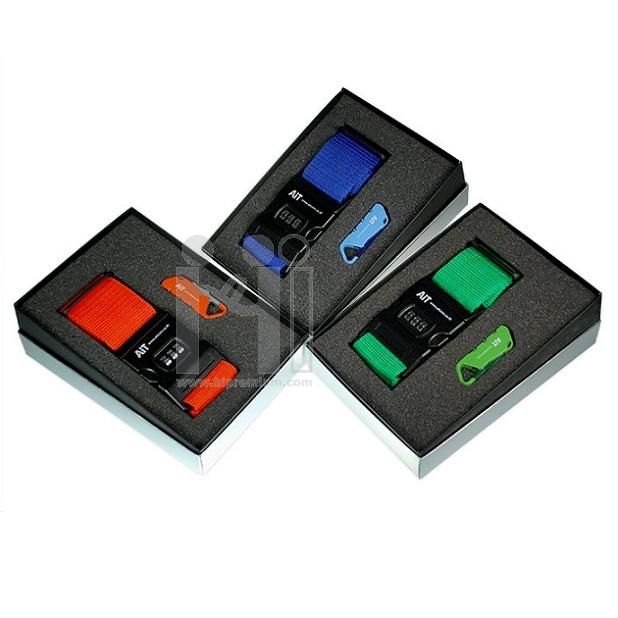 ชุดกล่องของขวัญกิ๊ฟเซ็ท Gift Setสายเข็มขัดรัดกระเป๋าเดินทางและกุญแจรหัสล็อคสั่งขั้นต่ำ 100 ชุด