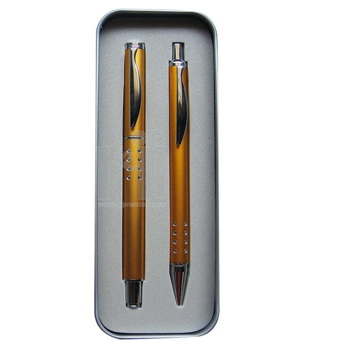 ชุดกล่องปากกาโลหะ2ด้าม(ปากกาลูกลื่น,ปากกาหมึกซึม)