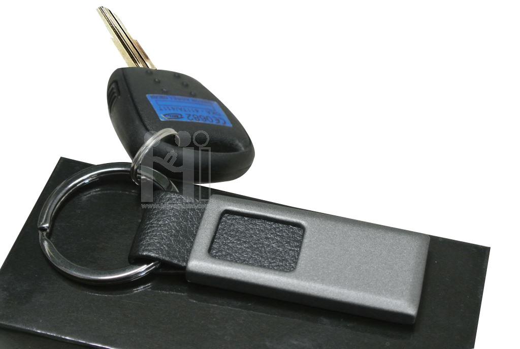 พวงกุญแจโลหะสำเร็จรูป พวงกุญแจโลหะสลับหนัง PU สีดำ