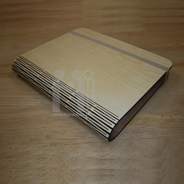 สมุดโน๊ตปกไม้พับเปิดข้าง  สมุดโน้ต สมุดปกไม้