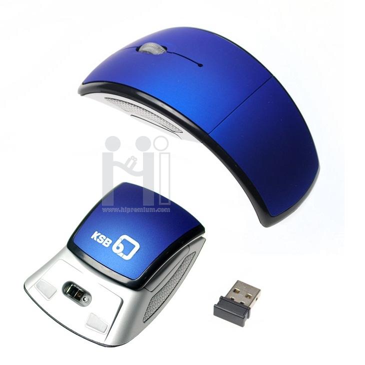 เมาส์ไร้สายพับได้ บอดี้โค้งSlimบาง2.4Ghz USB Wireless Mouse