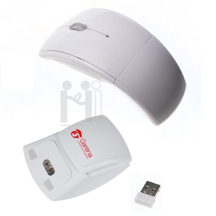 เมาส์ไร้สายพับได้ บอดี้โค้งSlimบาง<br>2.4Ghz USB Wireless Mouse