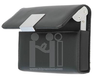 กล่องใส่นามบัตรหนังทรงนอน,มีแผ่นโลหะ ตลับนามบัตร