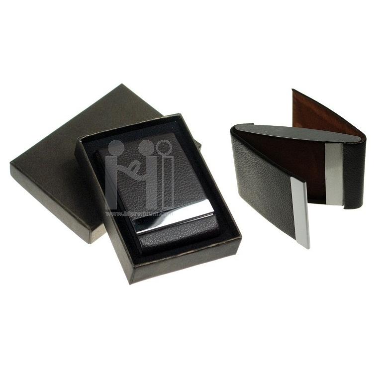 กล่องนามบัตรใส่ได้2ด้าน <br>ตลับใส่นามบัตรหนังเทียม