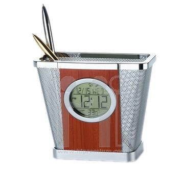 นาฬิกาตั้งโต๊ะหน้าไม้&อุณหภูมิ&ปฏิทิน