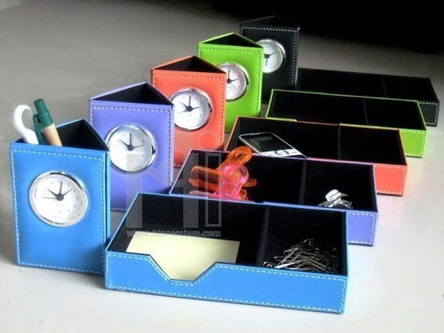 นาฬิกาตั้งโต๊ะ พร้อมช่องใส่ของอเนกประสงค์สั่งตัดหนังใหม่เลือกสีหนังได้