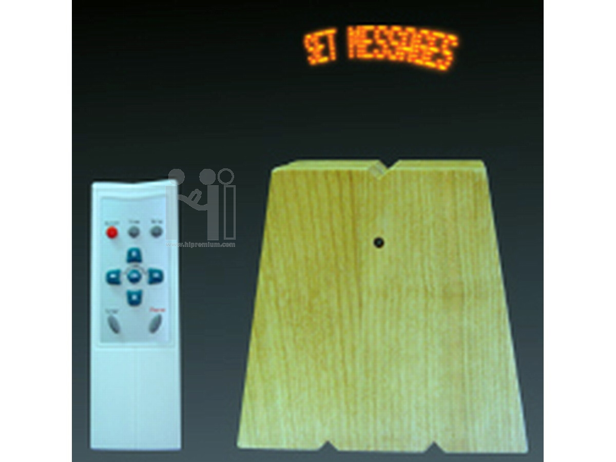นาฬิกาไม้ตั้งโต๊ะพรีเมี่ยม กำหนดข้อความได้ LED Message Clock
