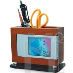 นาฬิกาไม้ตั้งโต๊ะไฟกะพริบ&ปลุก&อุณหภูมิ
