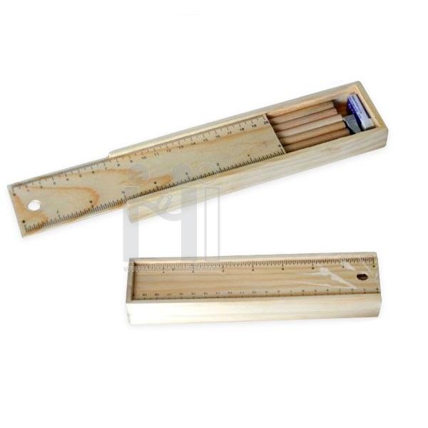 ชุดเซ็ตกล่องดินสอไม้<br> ดินสอ,ไม้บรรทัด,ยางลบ,กบเหลา