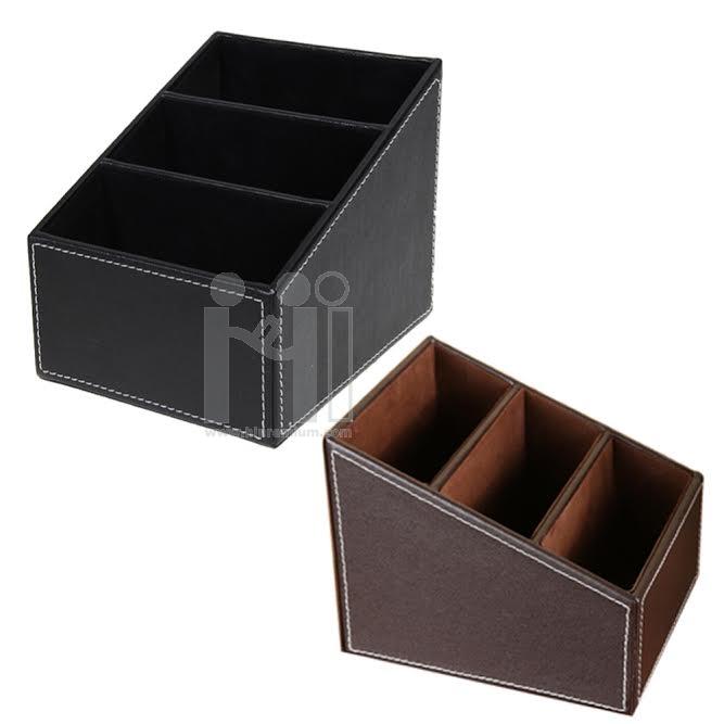 กล่องใส่เครื่องเขียน กล่องใส่อุปกรณ์อเนกประสงค์ กล่องหนังเทียม