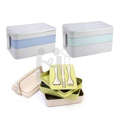 กล่องข้าว Eco ชุดกล่องข้าวฟางข้าวสาลี กล่องใส่อาหาร3ชั้น สต๊อก