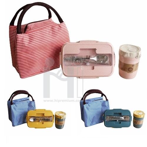 ชุดกระเป๋าเก็บอุณหภูมิกล่องข้าว Eco ชุดกล่องข้าวฟางข้าวสาลีช้อนตะเกียบถ้วยซุป
