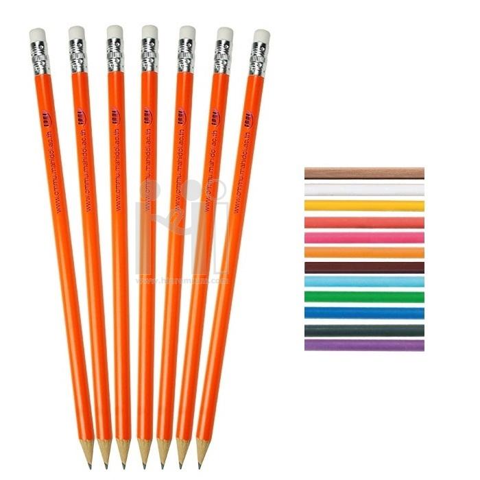 Stock ดินสอไม้กลม/หกเหลี่ยม เลือกสีได้