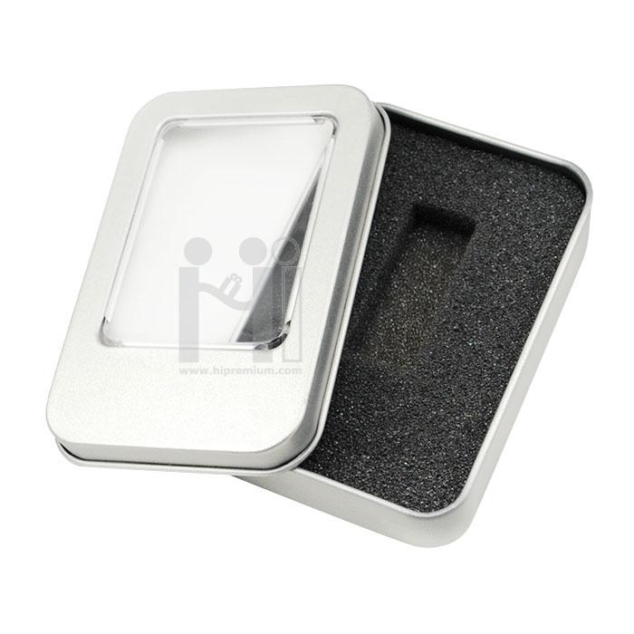 กล่องใส่แฟลชไดร์ฟกล่องโลหะเล็กมีสต๊อก ทรงเหลี่ยม