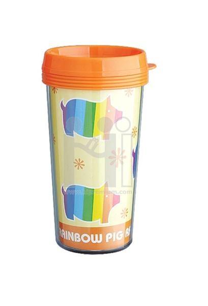 แก้วน้ำใส่รูปได้ แก้วพลาสติก2ชั้น plastic double wall cup