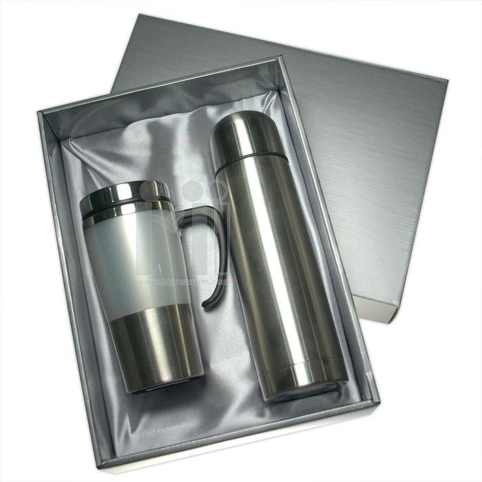 ชุดแก้วเก็บอุณหภูมิพร้อมบรรจุกล่องของขวัญ(ฝาทึบ) <br>กระบอกน้ำแสตนเลสสั่งขั้นต่ำ100ชุด