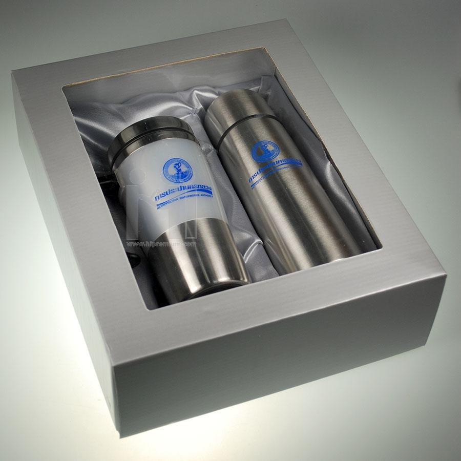 ชุดแก้วเก็บอุณหภูมิพร้อมบรรจุกล่องของขวัญ(ฝาโปร่ง) กระบอกน้ำแสตนเลสสั่งขั้นต่ำ100ชุด