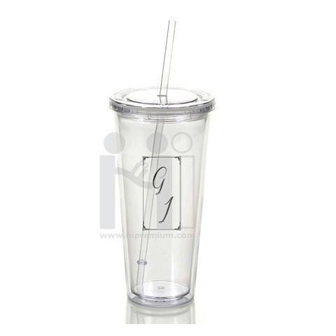 แก้ว Tumbler (แก้วทัมเบลอร์) พร้อมหลอดดูด แก้วอะคริลิคใส พรีเมี่ยม