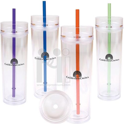 แก้วอะคริลิกพร้อมหลอดดูด<br>แก้วใส2ชั้นทรงSlimสั่งขั้นต่ำ100ใบ