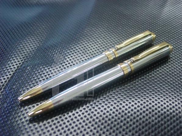 ***ปากกาโลหะ ด้ามโครเมี่ยม อะไหล่สีทอง