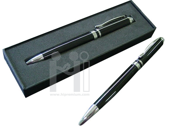 ปากกาโลหะพร้อมกล่องปากกาโลหะ ด้ามสีดำ อะไหล่สีเงิน