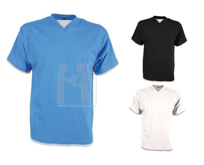 เสื้อยืดคอวี เย็บ2ชั้น ที่คอ,แขน,ชายเสื้อ
